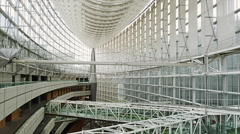 Interior of the Tokyo International Forum Building Stock Footage
