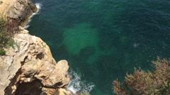The rocky coast of Carvoeiro Stock Footage