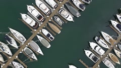 aerials footage of boats in mooring south australia - stock footage