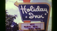 1976: Holiday Inn resort hotel tower building blackjack gambling available. Stock Footage