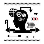 Brain gears symbol concept for idea Stock Illustration