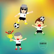 cartoon championship football player - stock illustration