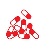 red capsule icon - stock illustration