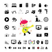 musician cartoon and icon set - stock illustration