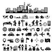 traveler explorer icon set - stock illustration