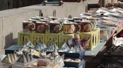 Souvenirs on a market stall outside the Citadel of Qaitbay Stock Footage