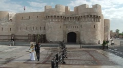 Front gate of the Citadel of Qaitbay in Alexandria Stock Footage