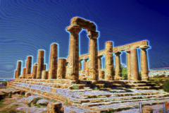 Ancient Greek Temple of Juno God, Agrigento, Sicily, Italy Stock Illustration