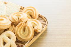 Cookies in bamboo bowl - stock photo