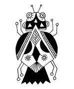 black and white handmade liner drawing of ethnic beetle in flat - stock illustration