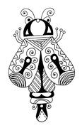 Black and white handmade liner drawing of ethnic beetle in flat Stock Illustration