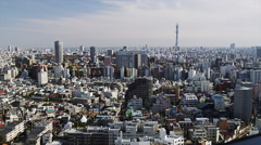 Birds eye View of Tokyo with Sky Tree Stock Footage