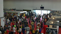 Aerial View Of The Crowded Main Hall Of A Big Convention Stock Footage