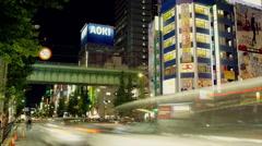 Chuodori Street in Akihabara Electric Town in Time Lapse Stock Footage
