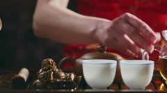 fill the cup of tea - stock footage