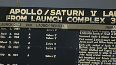 Cape Canaveral 1970s: Apollo and Saturn sign at Kennedy Space Center - stock footage