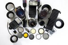 XXL. Photographic equipment set. 16 elements Stock Photos