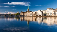 View of historic Zurich city center Stock Footage