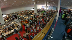 Aerial View Of The Crowded Main Hall Of A Big Convention, Fish Eye Stock Footage