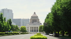 The Building of the National Diet in Chiyoda Stock Footage