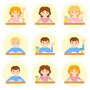 Schoolchild avatar vector illustration. Stock Illustration