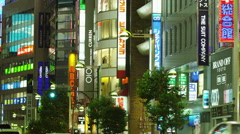 Neon Signs in Shinjuku East Gate Stock Footage