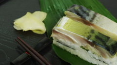 Fresh Marinated Mackarel Sushi with Salmon Eggs - stock footage