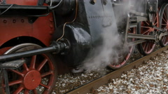 Piston of Steam Engine mounted on Steam Train Locomotive Stock Footage
