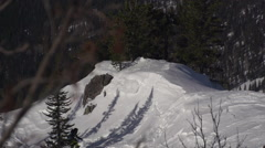 Snowboarder Slides In Mountain In Winter Day Stock Footage