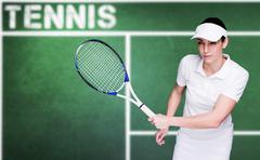 Composite image of female athlete playing tennis Stock Photos