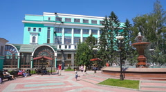 View on railway station building in Novosibirsk Stock Footage