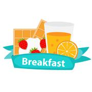Breakfast Cereal Oatmeal and Orange Juice, Icon in Modern Flat - stock illustration