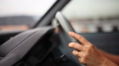 A woman hand driving car Stock Footage
