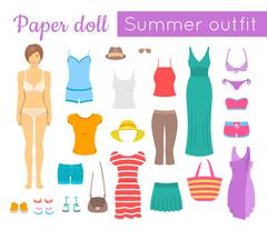 Paper doll girl with summer clothes game - stock illustration