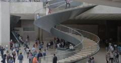 Crowded lobby of the Louvre Museum Stock Footage