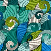 Abstract Wave Seamless Pattern Background. Vector Illustration Stock Illustration