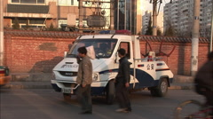 Police traffic control vehicle, China Stock Footage