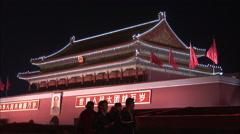 Forbidden City tourists, night, China Stock Footage