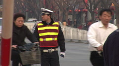 Chinese traffic police, Beijing, China - stock footage