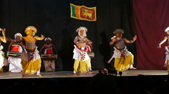 Sri Lankan dancers in traditional costumes perform Stock Footage