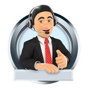 3D Logo. Call center. Custom service Piirros