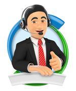 3D Logo. Call center. Custom service Stock Illustration