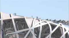 Construction workers on Birds Nest Stadium Stock Footage