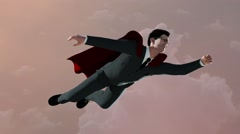Businessman flying as a Superman in a red Cape on the sky background, 3D render Arkistovideo