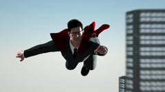 Businessman flying like Superman on the background the city with skyscrapers Stock Footage