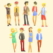 Young Stylishly Dressed People - stock illustration