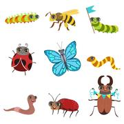 Insect Cartoon Images Set Stock Illustration
