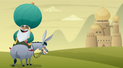 Cartoon of Nasreddin Hodja on his donkey. - stock footage