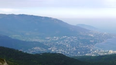 View of Yalta from Mount Ai-Petri. Crimea - stock footage