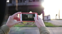 Shooting photo picture of abandoned industrial facility via smart phone camera - stock footage